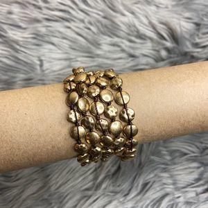 Lucky Brand 5 Strand Hammered Gold Tone Bracelet